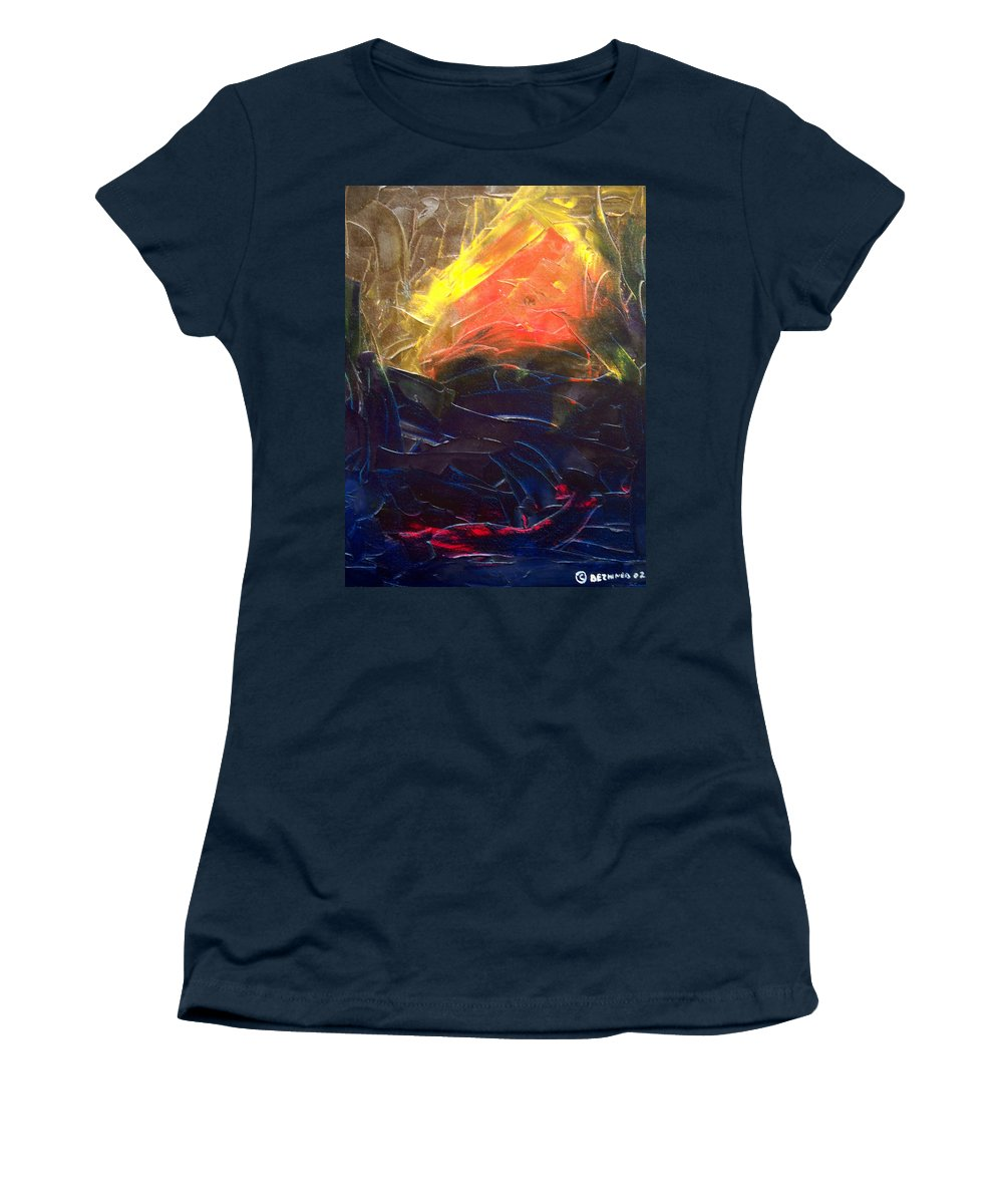 Duck Women's T-Shirt featuring the painting Forest .Part1 by Sergey Bezhinets