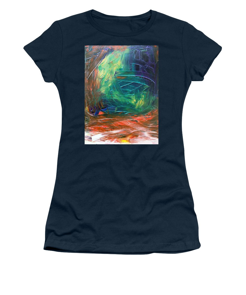 Painting Women's T-Shirt featuring the painting Forest.Part3 by Sergey Bezhinets
