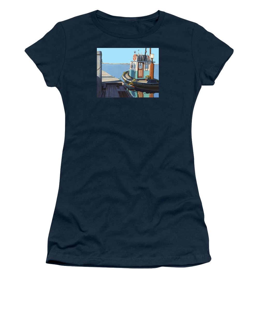 Tug Women's T-Shirt featuring the painting Fraser River tug by Gary Giacomelli