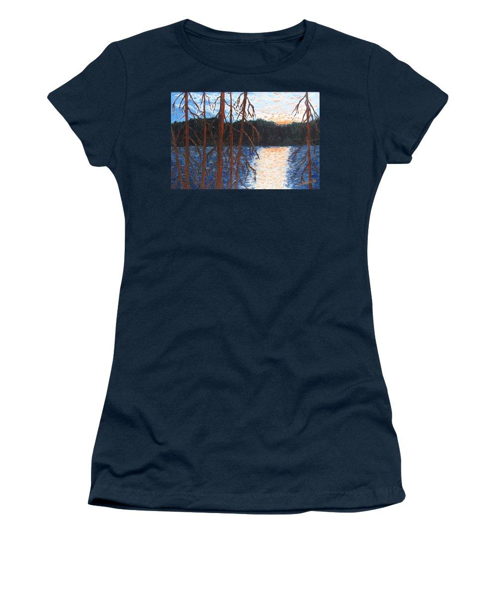 Setting Sun Women's T-Shirt featuring the painting Georgian Bay Ghosts by Ian MacDonald