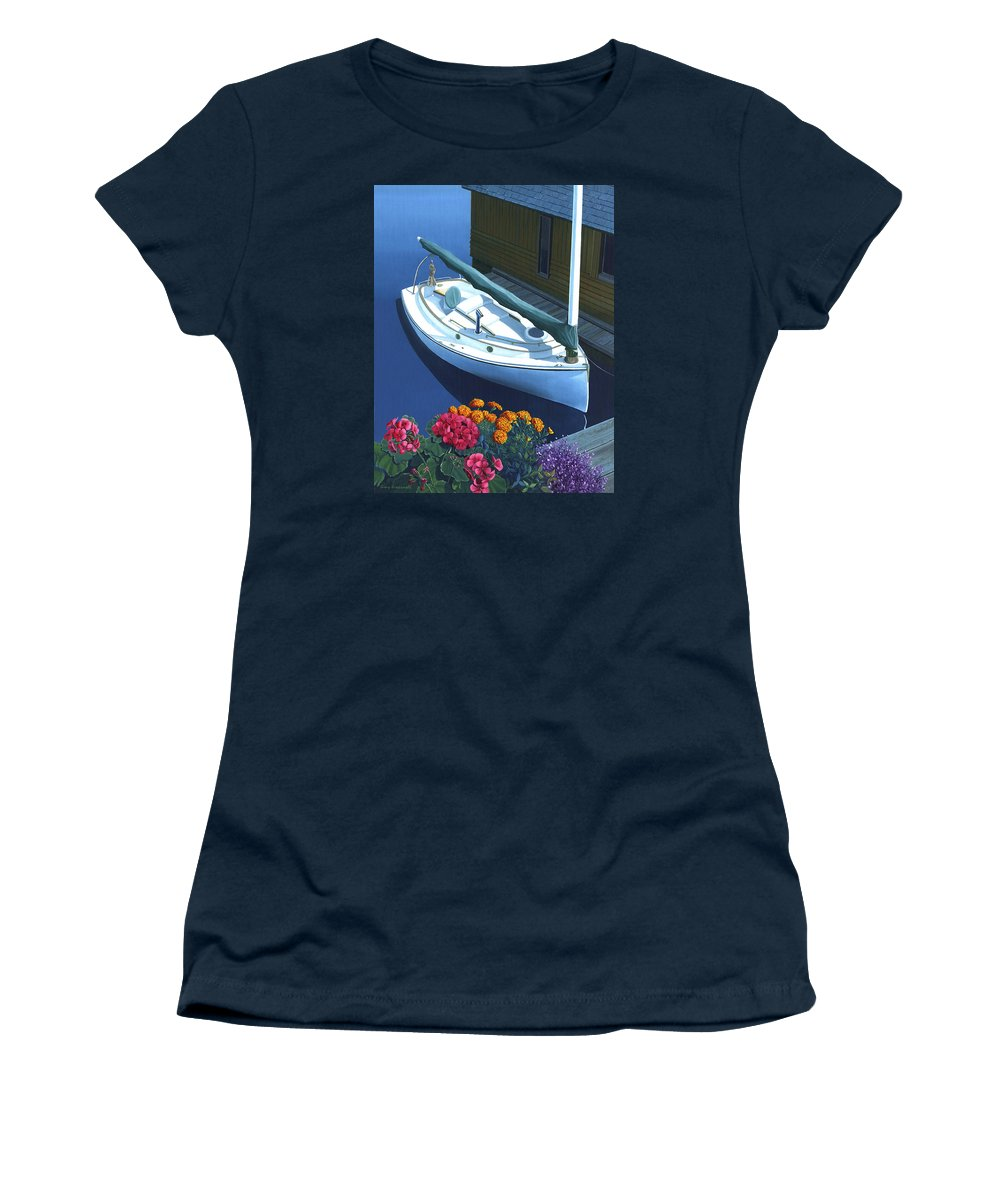 Seascape Women's T-Shirt featuring the painting Granville Island Catboat by Gary Giacomelli