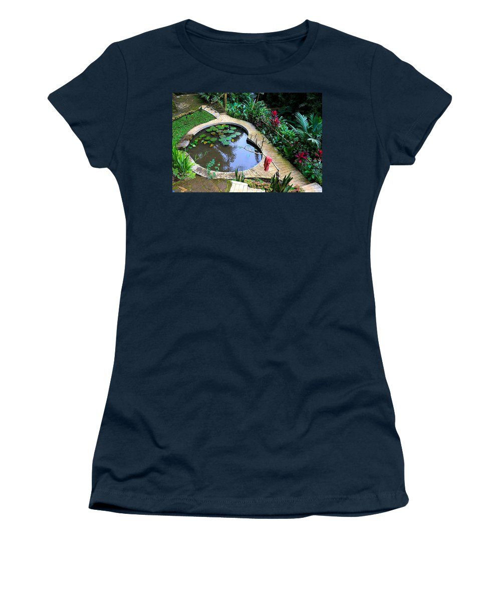 Heart Women's T-Shirt featuring the digital art Heart-shaped pond with water lilies by Worldvibes1