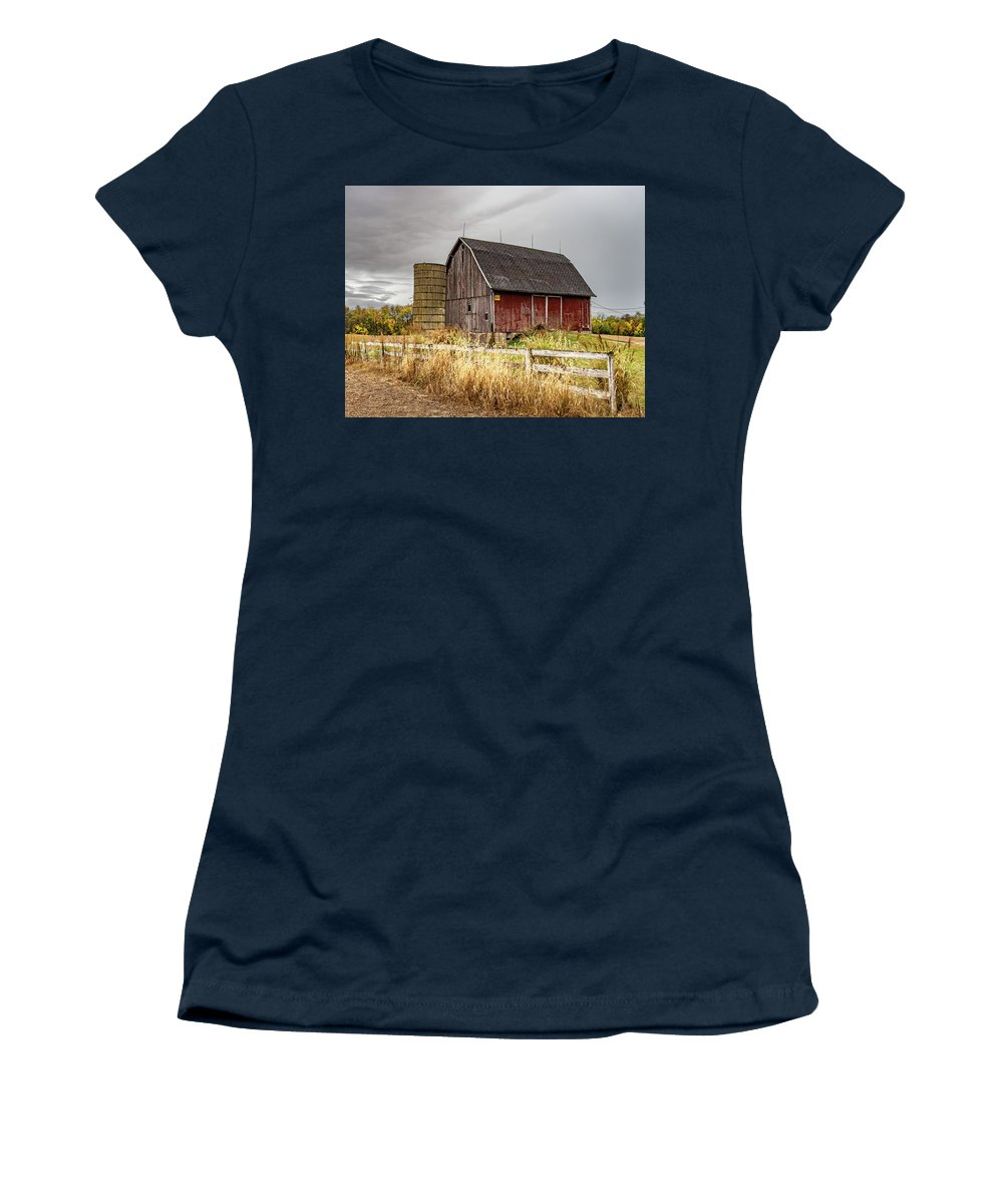Landscape Women's T-Shirt featuring the photograph Indiana Barn #106 by Scott Smith