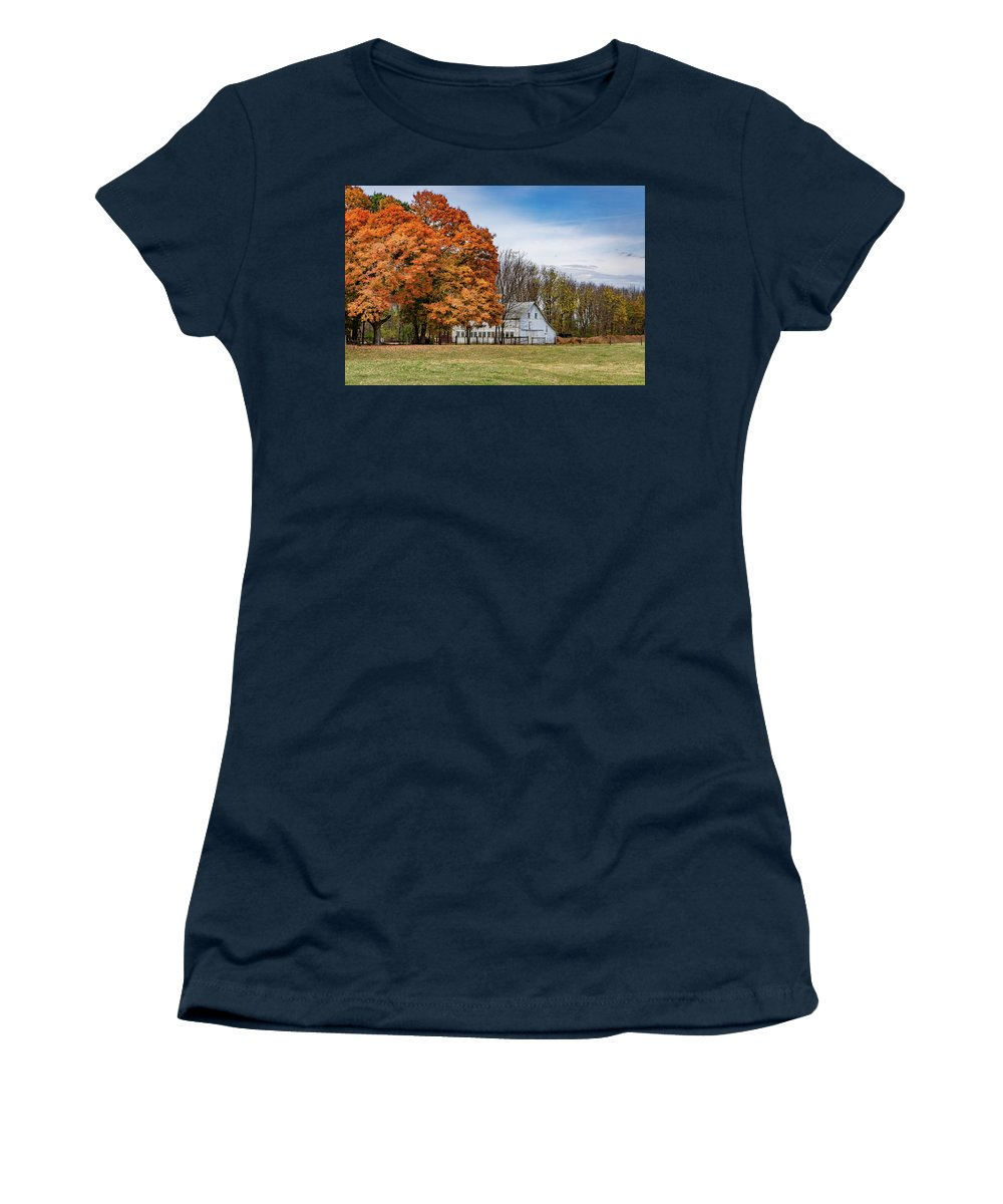 Landscape Women's T-Shirt featuring the photograph Indiana Barn #122 by Scott Smith