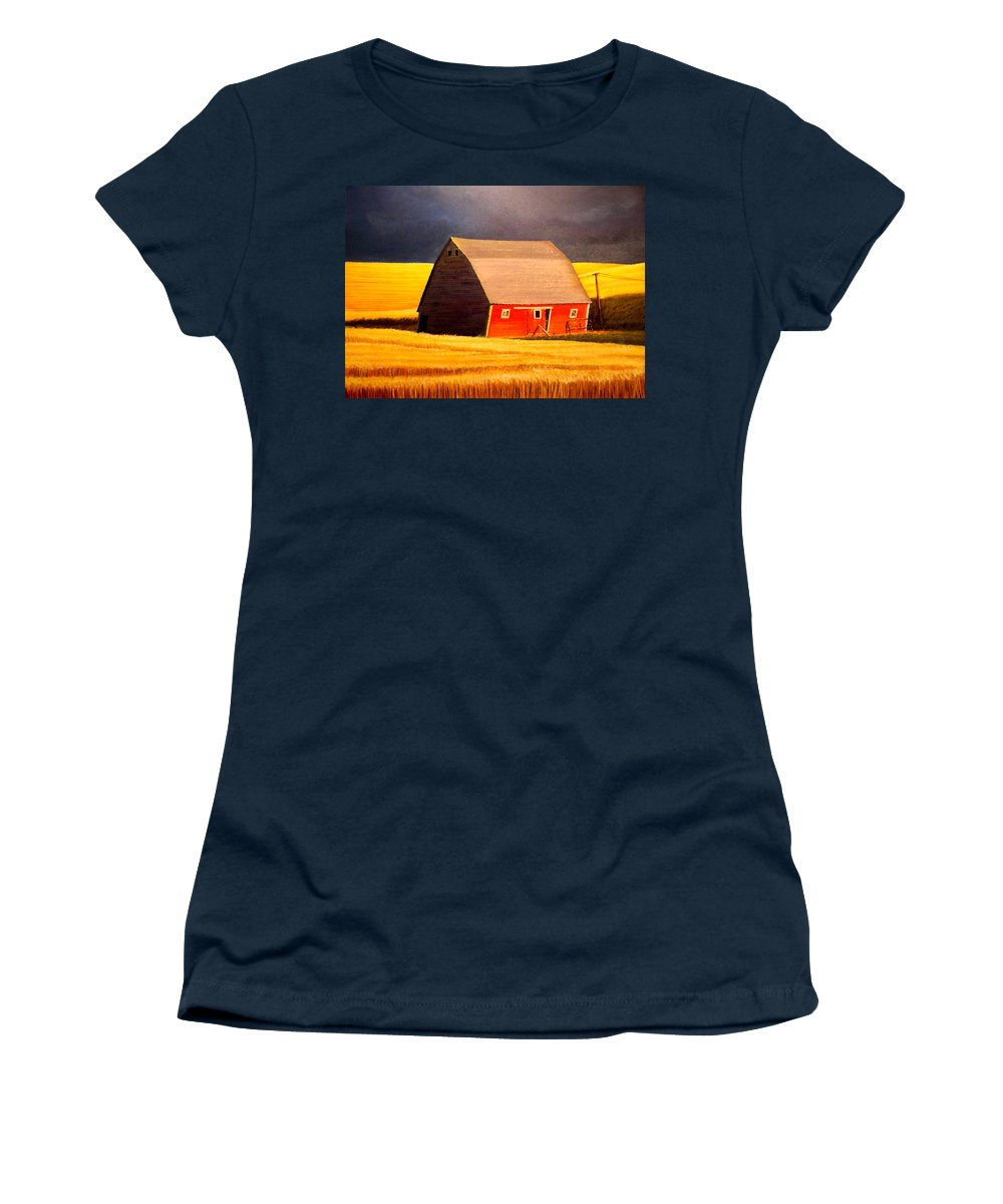 Barn Women's T-Shirt featuring the painting Leans to the Right by Leonard Heid