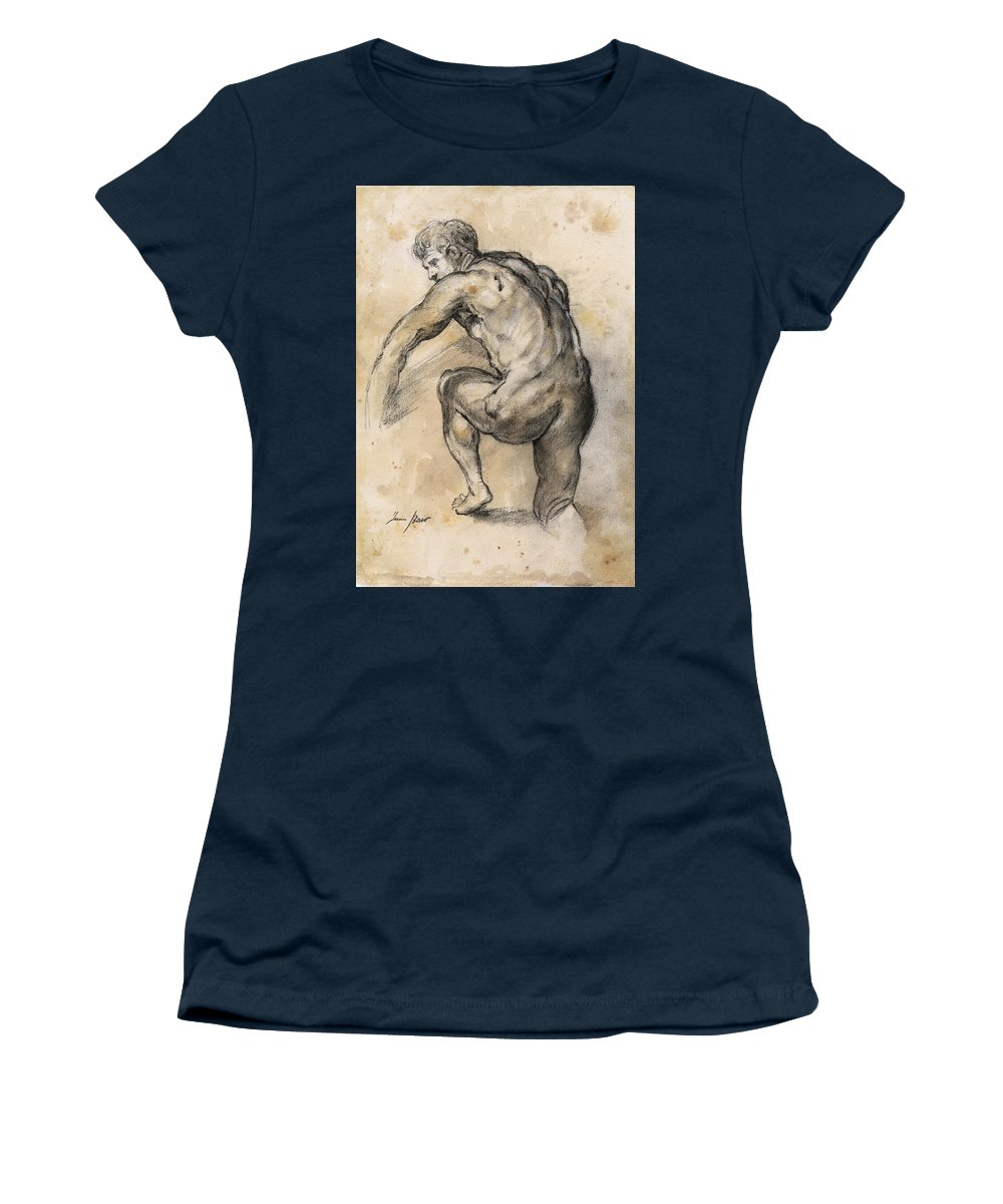 Nude Art Women's T-Shirt featuring the painting Male nude drawing by Juan Bosco