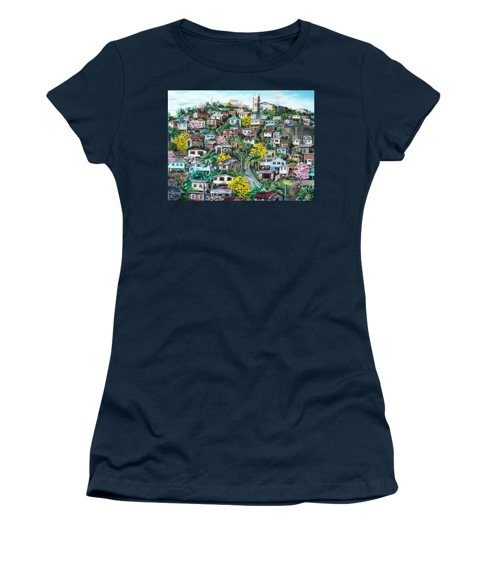 Landscape Painting Cityscape Painting Original Oil Painting  Blossoming Poui Tree Painting Lavantille Hill Trinidad And Tobago Painting Caribbean Painting Tropical Painting Women's T-Shirt featuring the painting Poui On The Hill by Karin Dawn Kelshall- Best