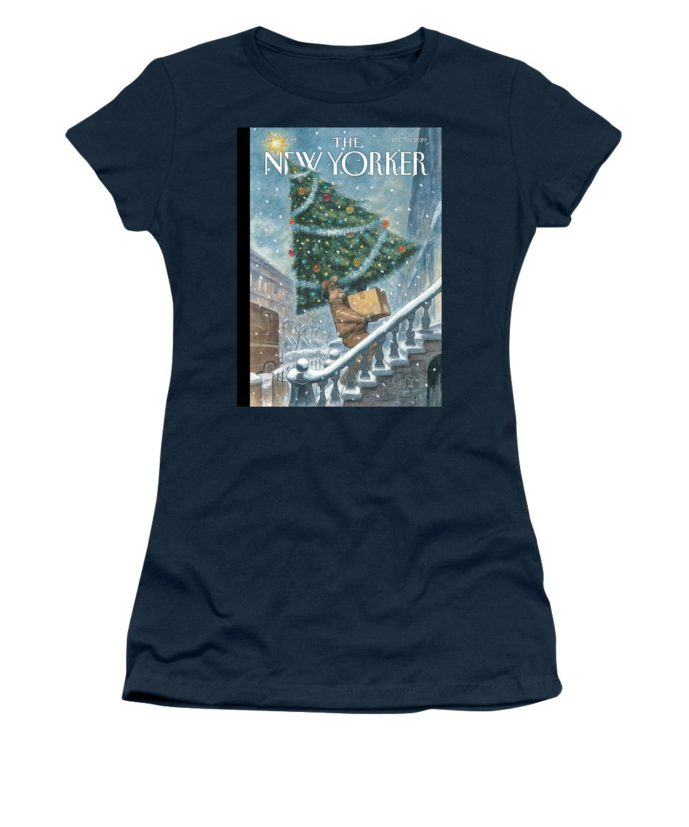 Priority Shipping Women's T-Shirt featuring the painting Priority Shipping by Peter de Seve