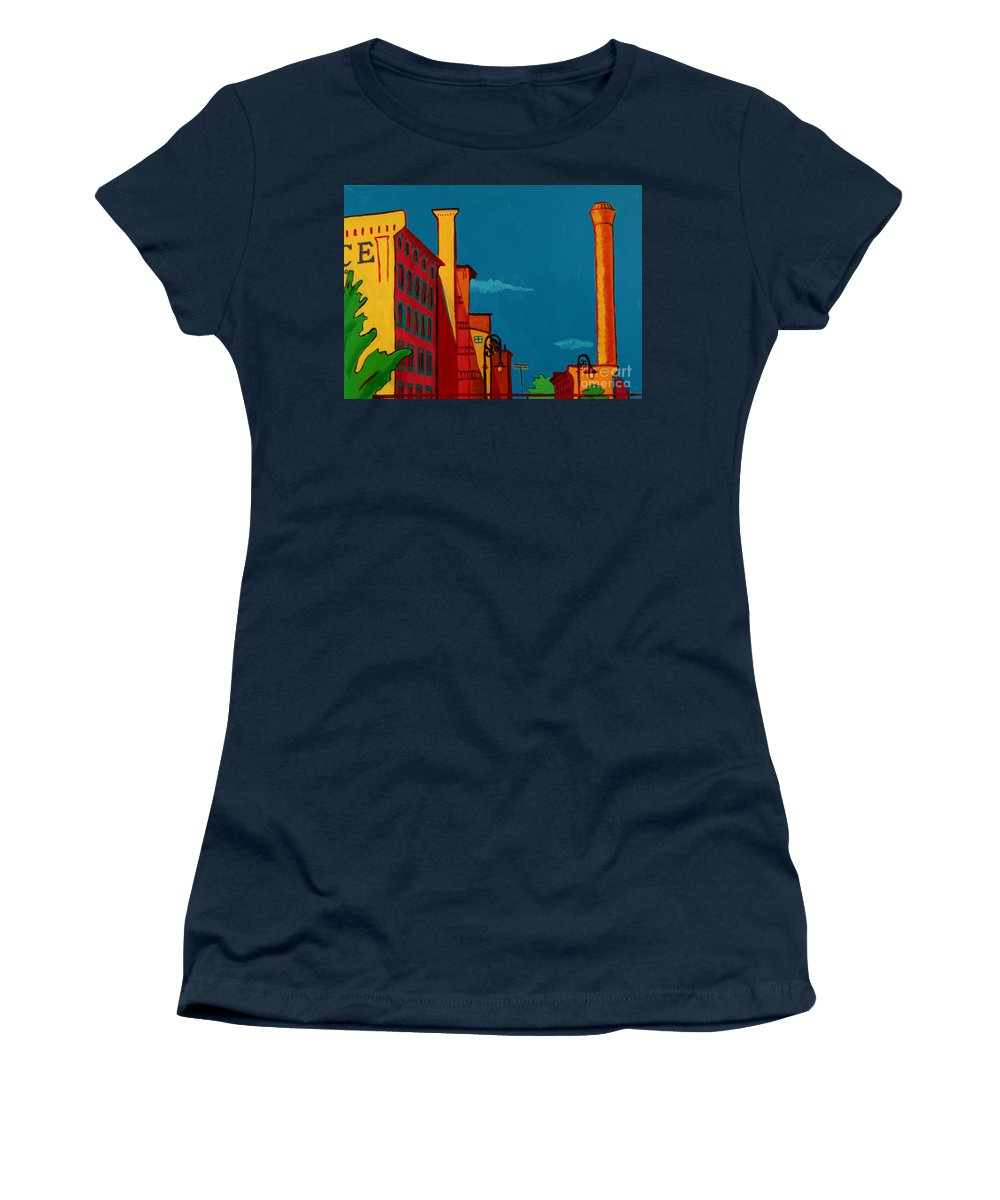 Landscape Women's T-Shirt featuring the painting Riverwalk by Debra Bretton Robinson
