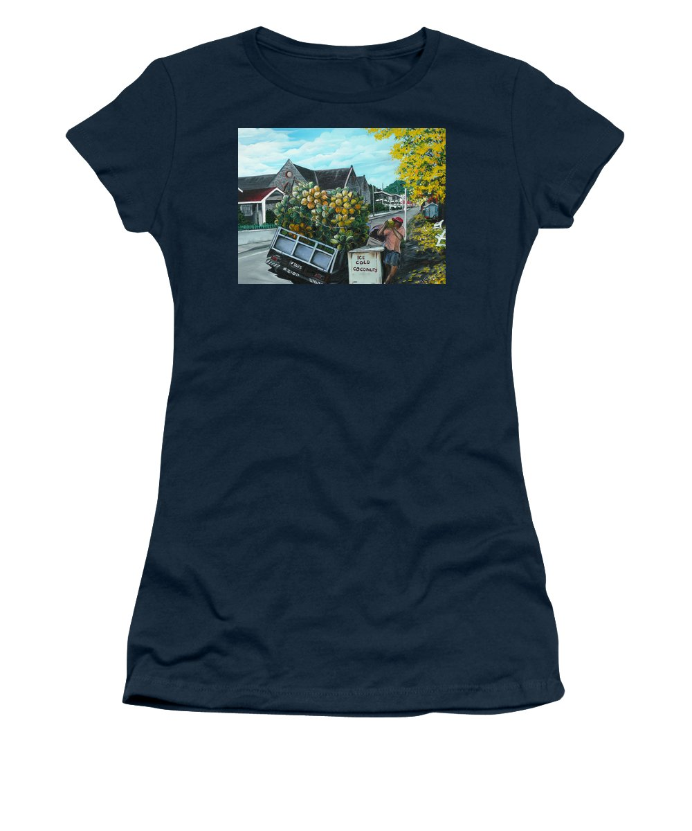 Caribbean Painting Coconuts Vendor Trinidad And Tobago Painting Savannah Paintings  Poui Tree Painting Tropical Painting Women's T-Shirt featuring the painting Savannah Coconut Vendor by Karin Dawn Kelshall- Best