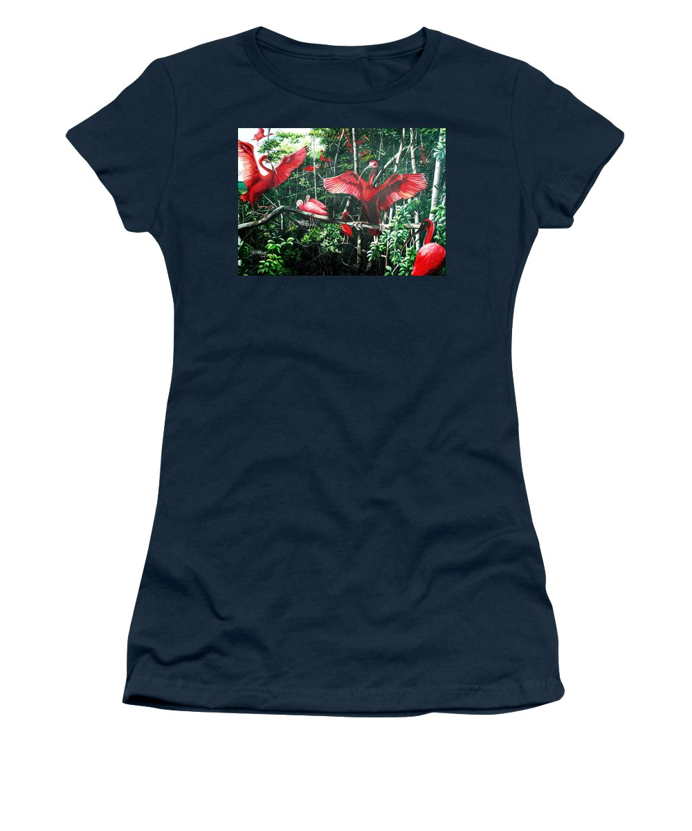 Caribbean Painting Scarlet Ibis Painting Bird Painting Coming Home To Roost Painting The Caroni Swamp In Trinidad And Tobago Greeting Card Painting Painting Tropical Painting Women's T-Shirt featuring the painting Scarlet Ibis by Karin Dawn Kelshall- Best