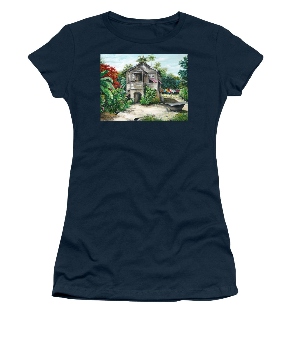 Landscape Painting Caribbean Painting House Painting Tobago Painting Trinidad Painting Tropical Painting Flamboyant Painting Banana Painting Trees Painting Original Painting Of Typical Country House In Trinidad And Tobago Women's T-Shirt featuring the painting Sweet Island Life by Karin Dawn Kelshall- Best