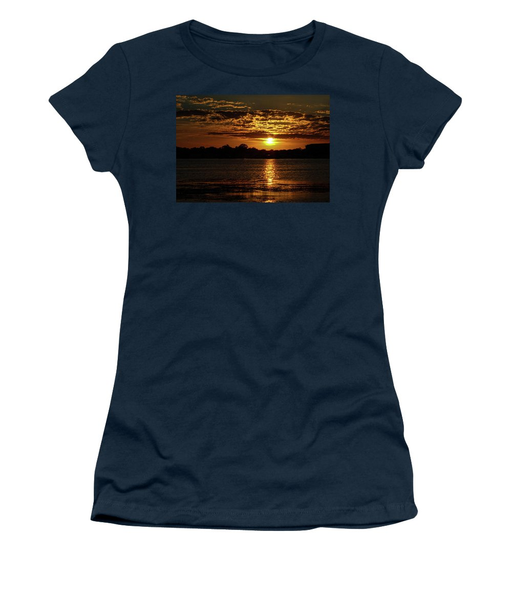 Sunset Women's T-Shirt featuring the photograph The Sunset over the Lake by Daniel Cornell