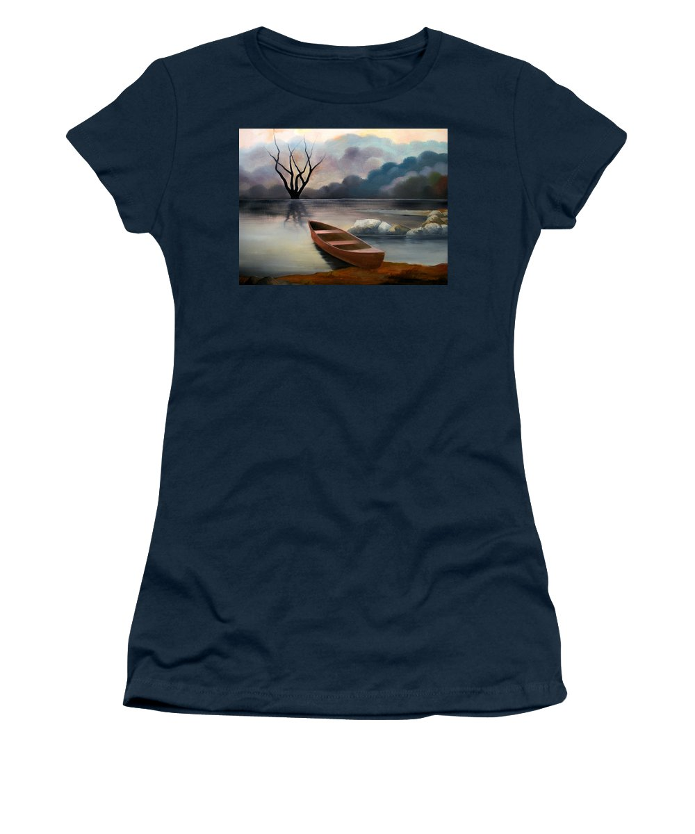 Duck Women's T-Shirt featuring the painting Tranquility by Sergey Bezhinets