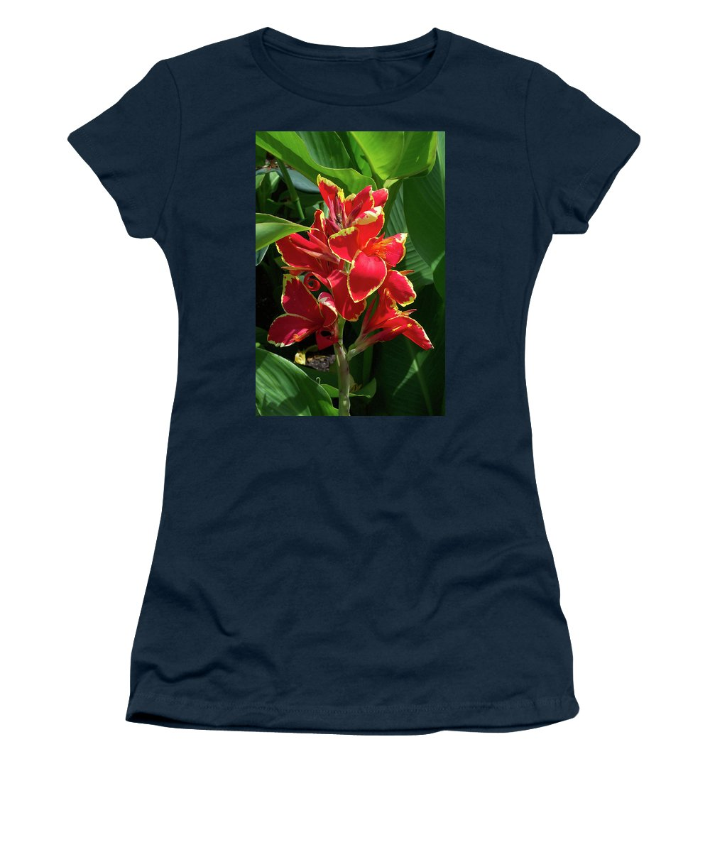 Flower Women's T-Shirt featuring the photograph Tropical Red Flower by Trevor Slauenwhite