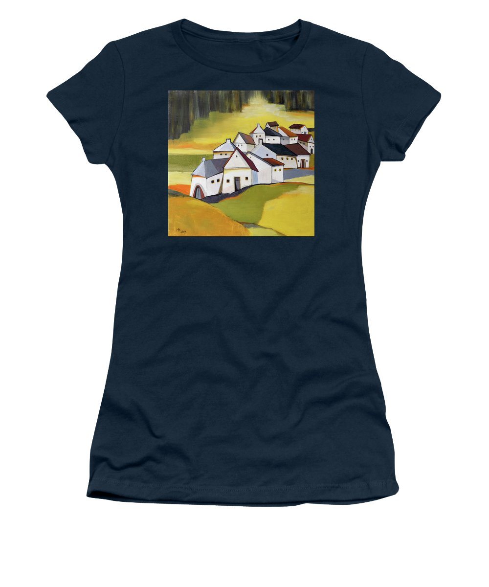 Rapeseed Women's T-Shirt featuring the painting Village near the rapeseed field by Aniko Hencz