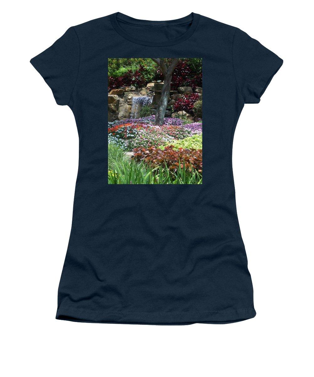 Garden Women's T-Shirt featuring the photograph Waterfall Garden by Pharris Art