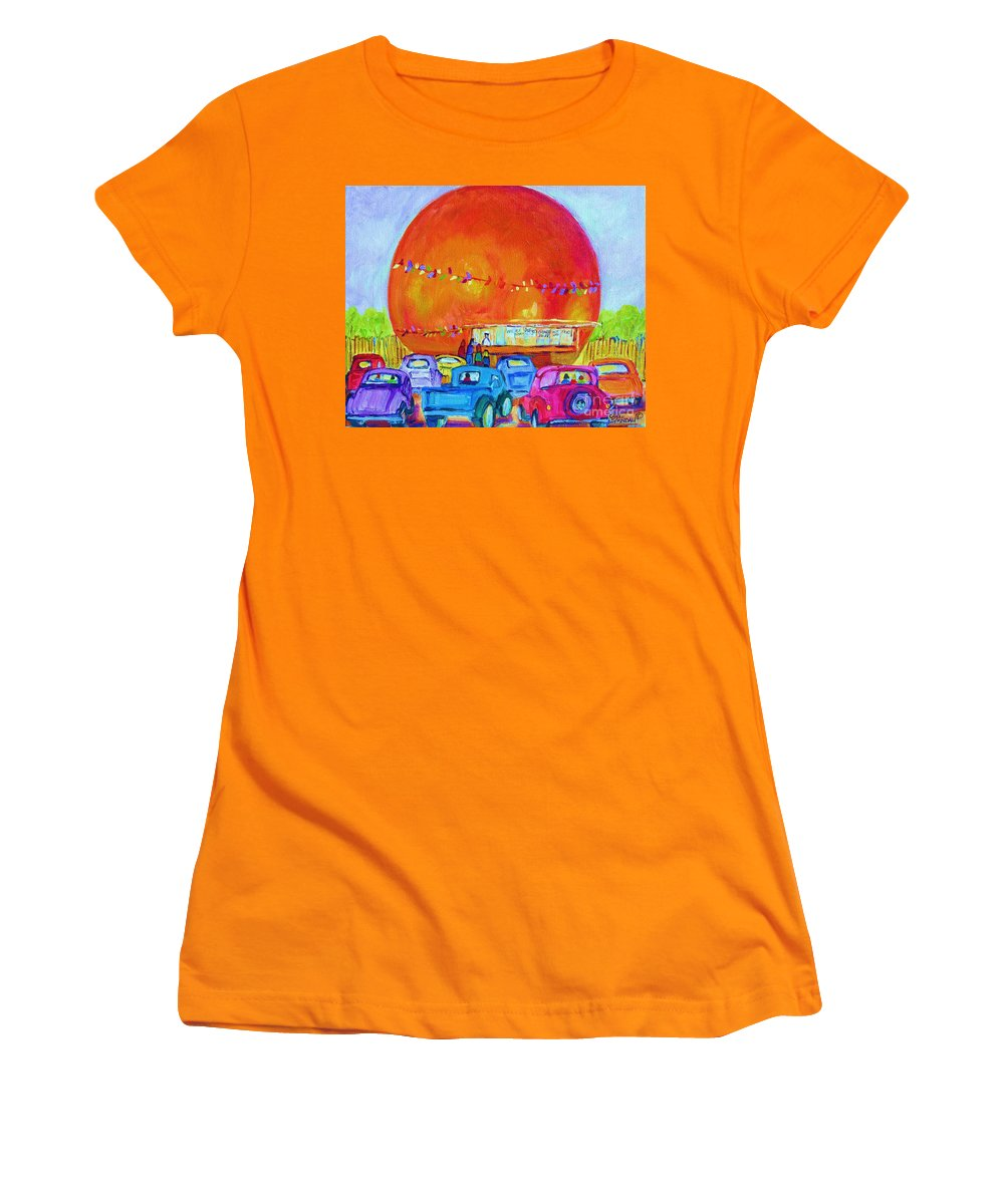 Cars Women's T-Shirt (Athletic Fit) featuring the painting Antique Cars At The Julep by Carole Spandau