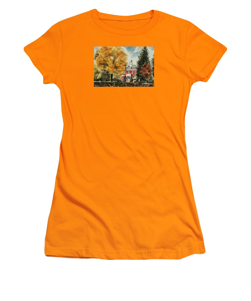 Antebellum Autumn Ironton Missouri Women's T-Shirt (Athletic Fit) featuring the painting Antebellum Autumn Ironton Missouri by Kip DeVore