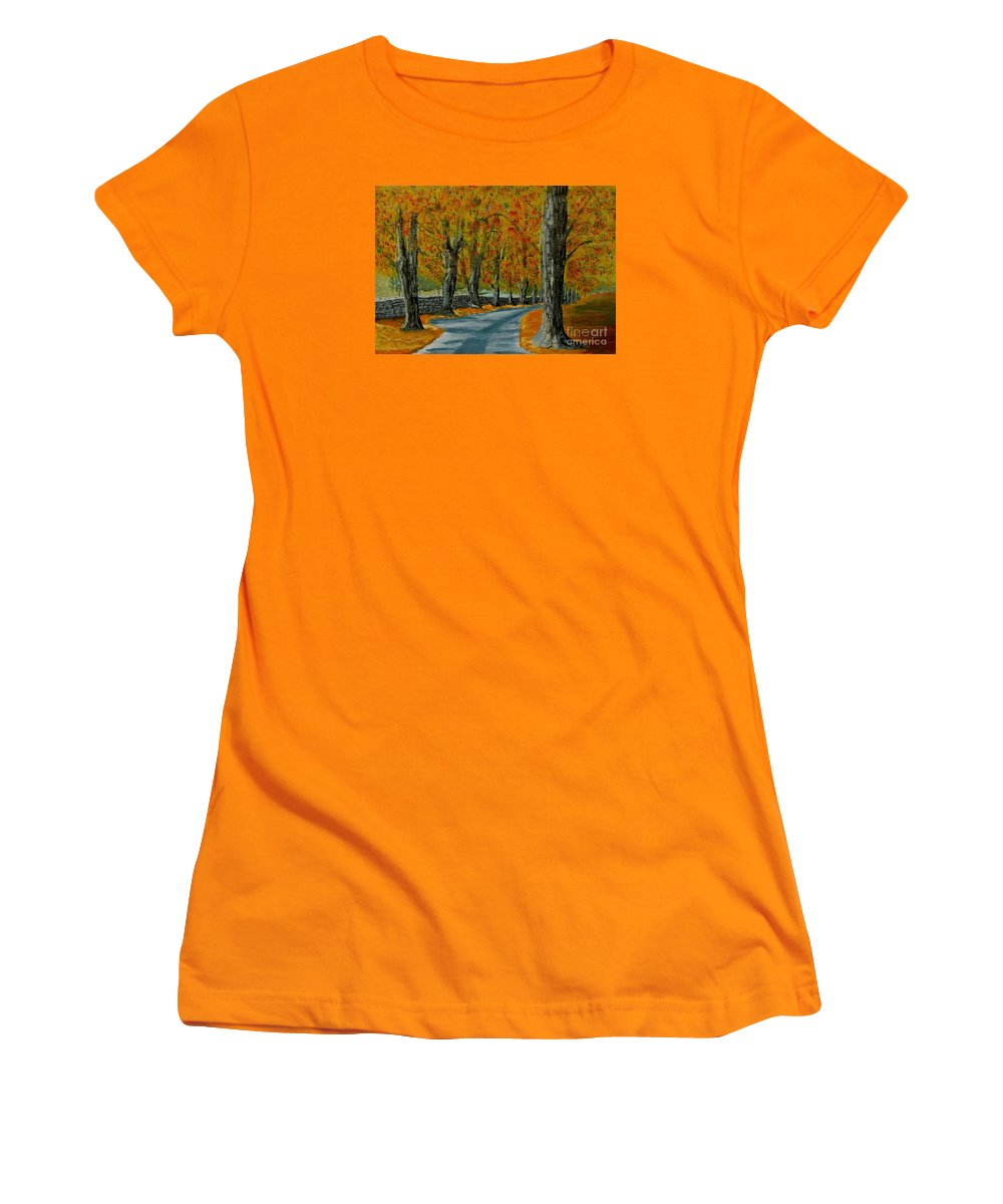 Autumn Women's T-Shirt (Athletic Fit) featuring the painting Autumn Pathway by Anthony Dunphy