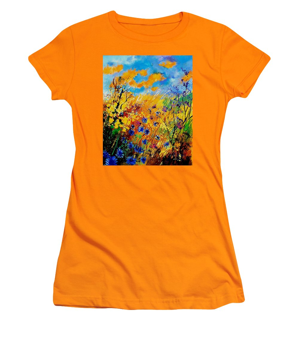 Poppies Women's T-Shirt (Athletic Fit) featuring the painting Blue Cornflowers 450408 by Pol Ledent