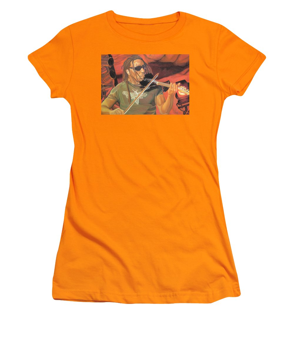 Boyd Tinsley Women's T-Shirt (Athletic Fit) featuring the drawing Boyd Tinsley At Red Rocks by Joshua Morton