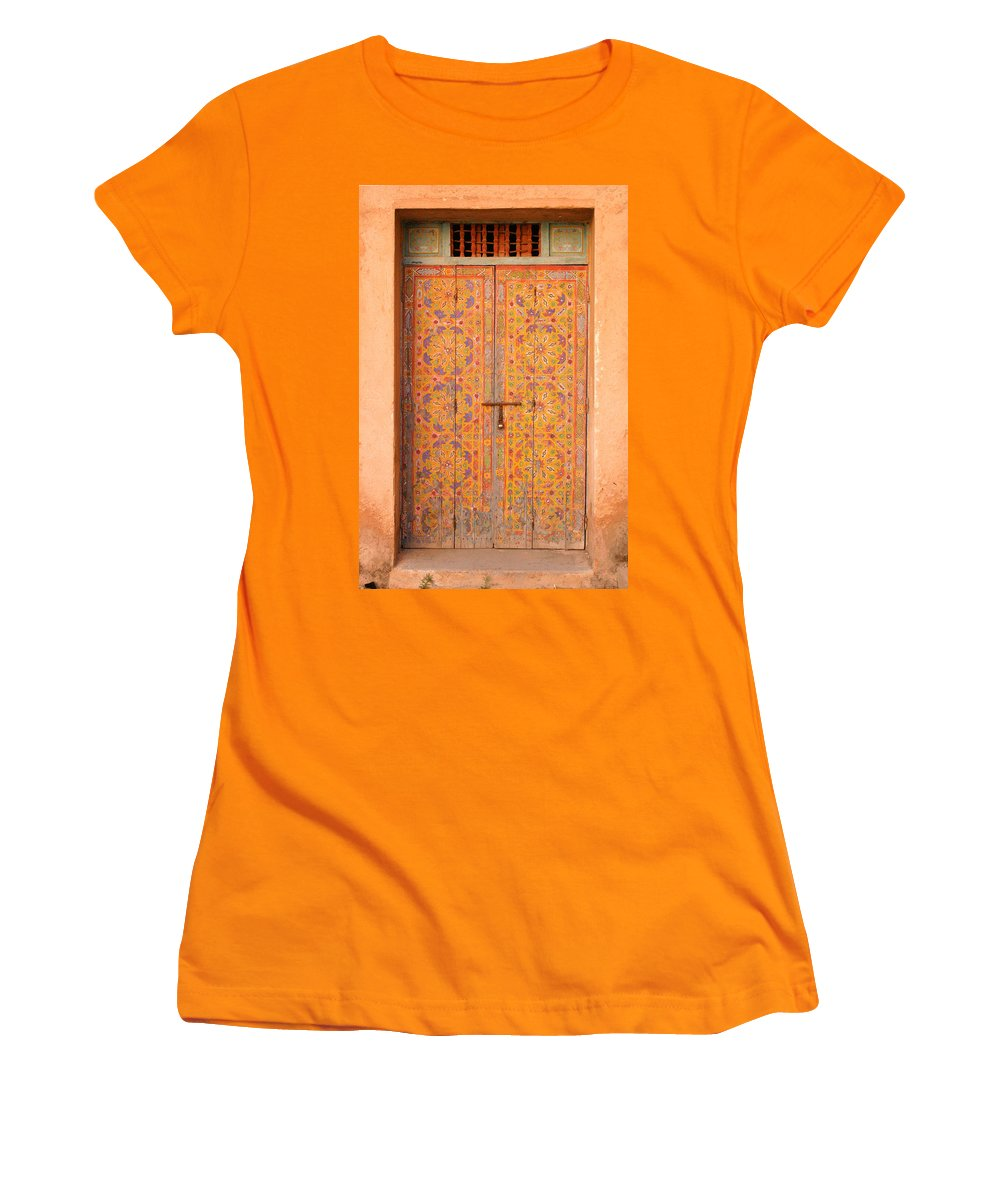 Door Women's T-Shirt (Athletic Fit) featuring the photograph Colourful Entrance Door Sale Rabat Morocco by Ralph A Ledergerber-Photography
