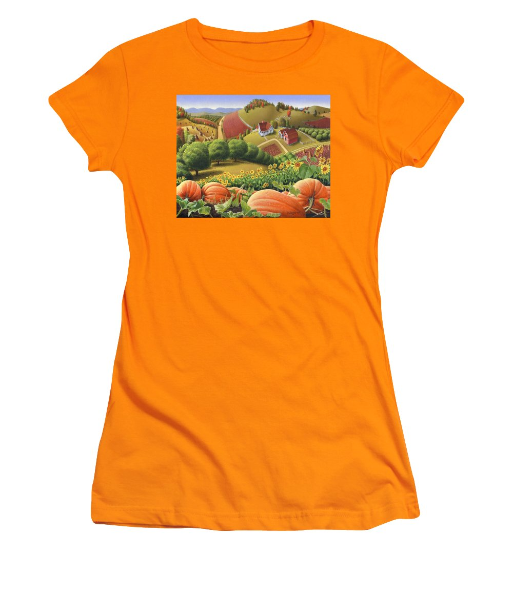 Pumpkin Women's T-Shirt (Athletic Fit) featuring the painting Farm Landscape - Autumn Rural Country Pumpkins Folk Art - Appalachian Americana - Fall Pumpkin Patch by Walt Curlee
