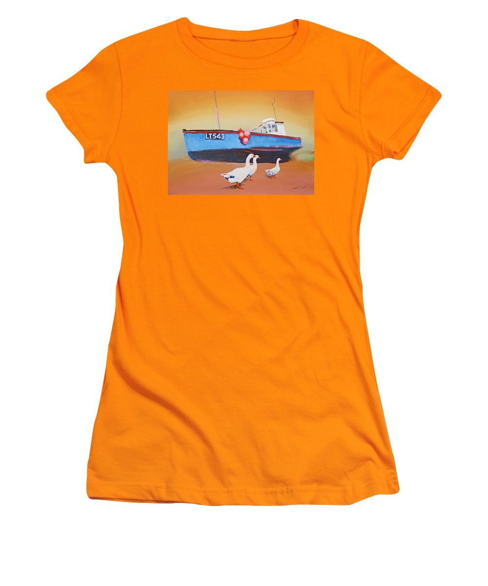 Geese Women's T-Shirt (Athletic Fit) featuring the painting Fishing Boat Walberswick With Geese by Charles Stuart