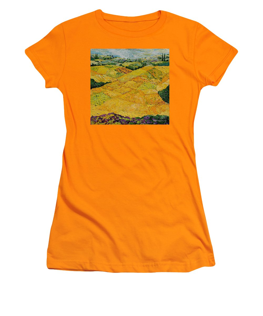 Landscape Women's T-Shirt (Athletic Fit) featuring the painting Harvest Joy by Allan P Friedlander