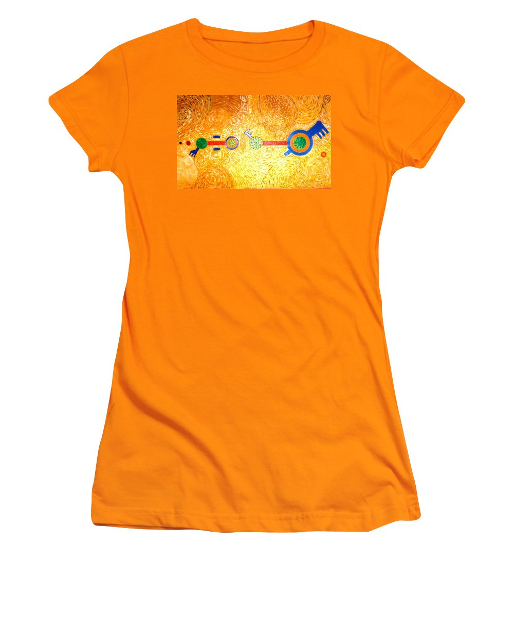 Landscape Women's T-Shirt (Athletic Fit) featuring the painting Henge-o-glyph From Wheat-shire by MERLIN Vernon