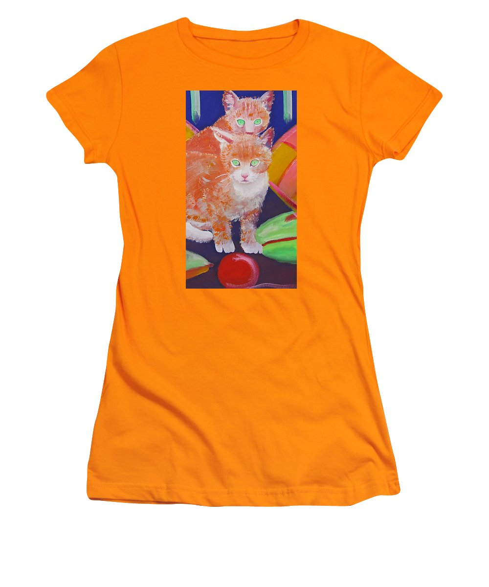 Kittens Women's T-Shirt (Athletic Fit) featuring the painting kittens With A Ball of Wool by Charles Stuart