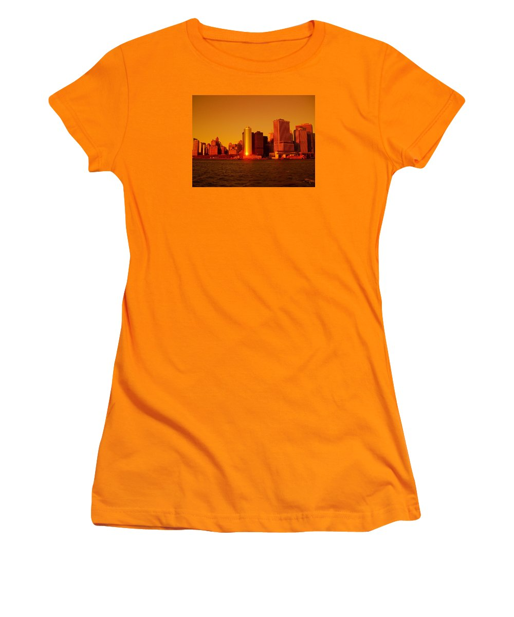 Manhattan Skyline Prints Women's T-Shirt (Athletic Fit) featuring the photograph Manhattan Skyline At Sunset by Monique's Fine Art