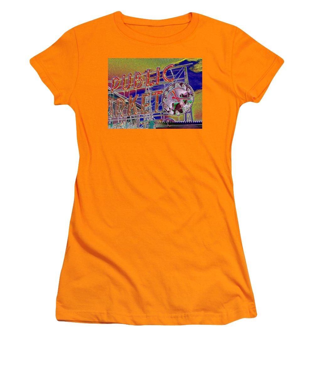 Seattle Women's T-Shirt (Athletic Fit) featuring the digital art Market Clock 1 by Tim Allen