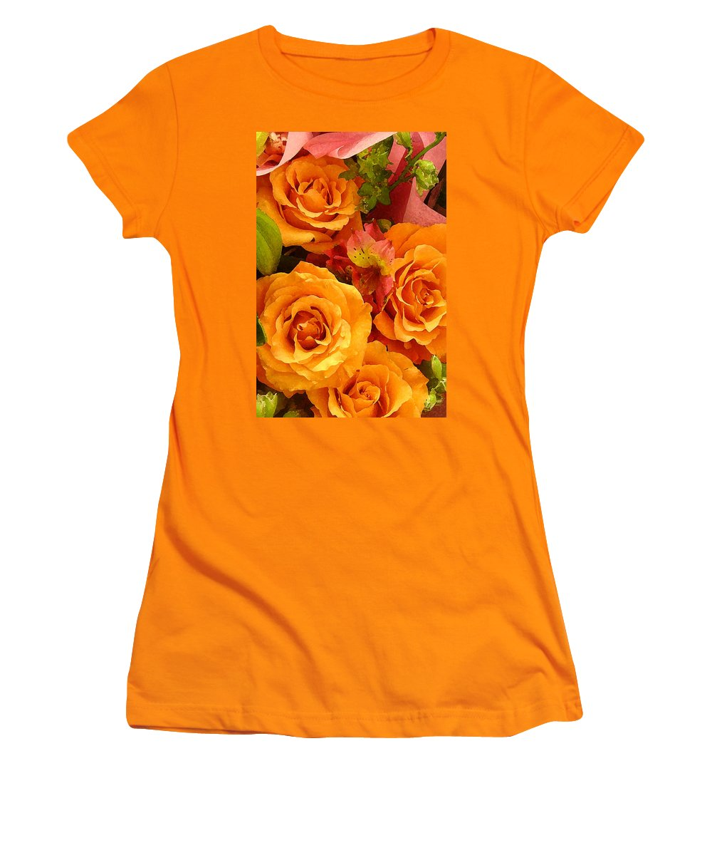 Roses Women's T-Shirt (Athletic Fit) featuring the painting Orange Roses by Amy Vangsgard