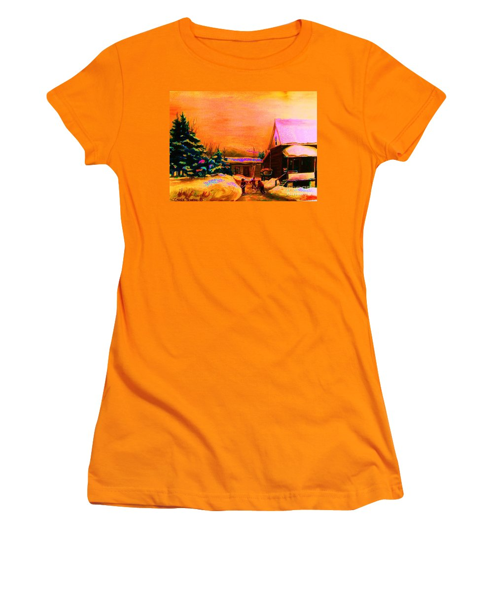 Hocket Art Women's T-Shirt (Athletic Fit) featuring the painting Playing Until The Sun Sets by Carole Spandau