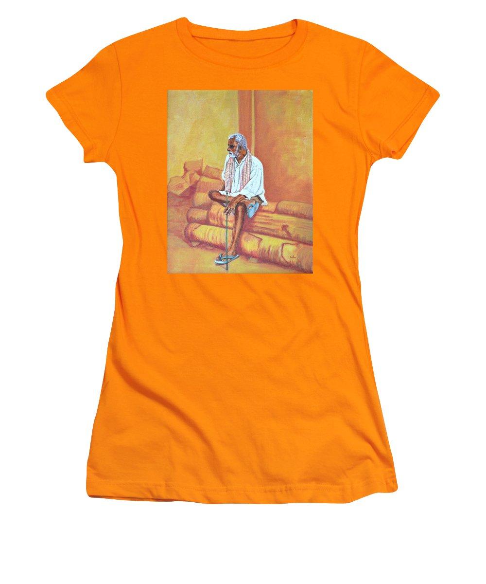Usha Women's T-Shirt (Athletic Fit) featuring the painting Reminiscing by Usha Shantharam