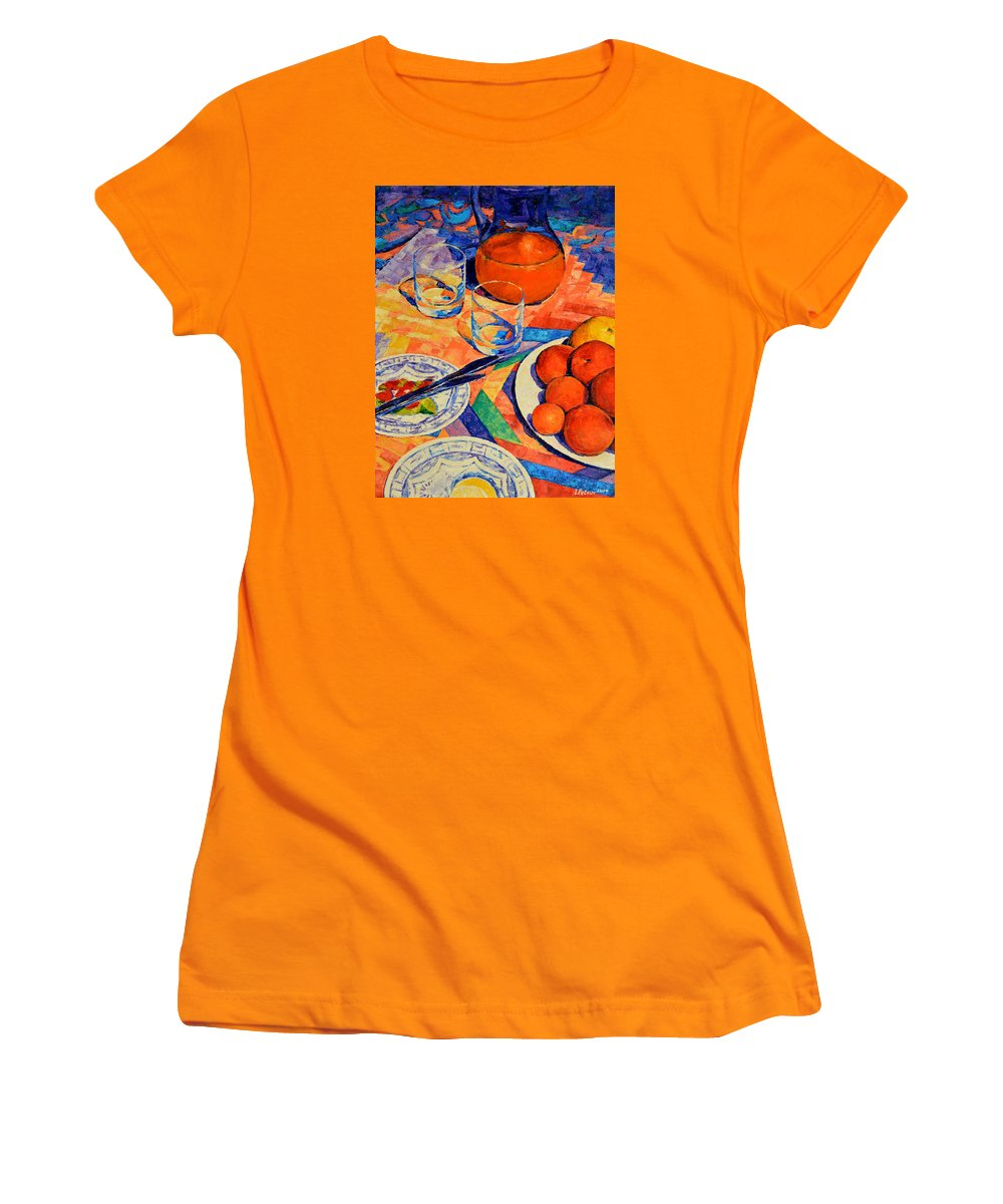 Still Life Women's T-Shirt (Athletic Fit) featuring the painting Still Life 1 by Iliyan Bozhanov