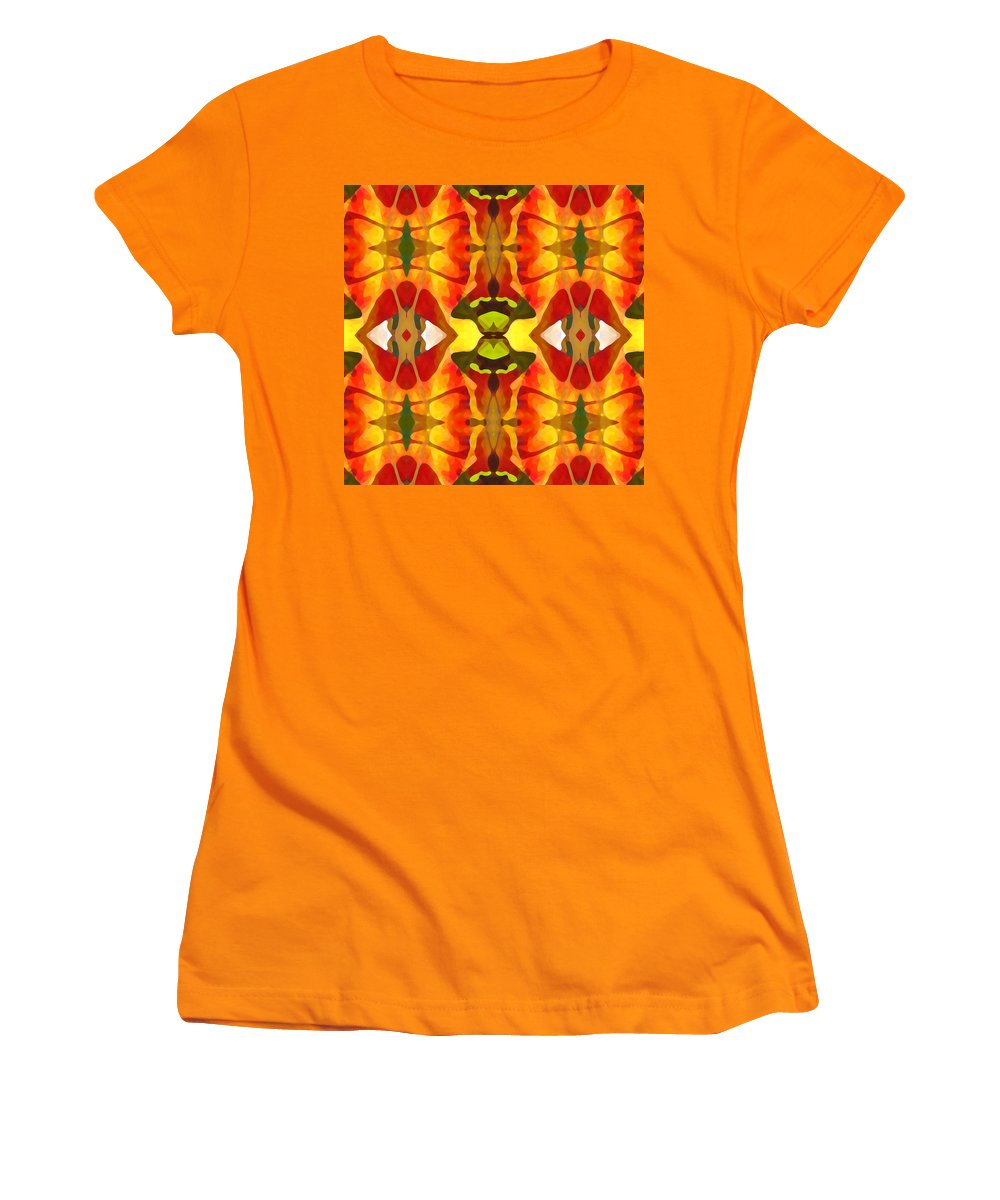 Abstract Women's T-Shirt (Athletic Fit) featuring the painting Tropical Leaf Pattern 4 by Amy Vangsgard