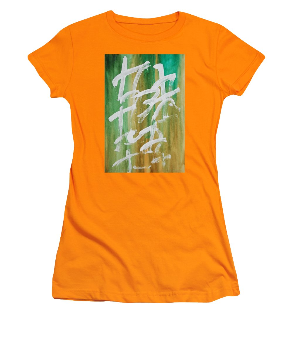 Chinese Women's T-Shirt (Athletic Fit) featuring the painting Chinese Numbers by Lauren Luna
