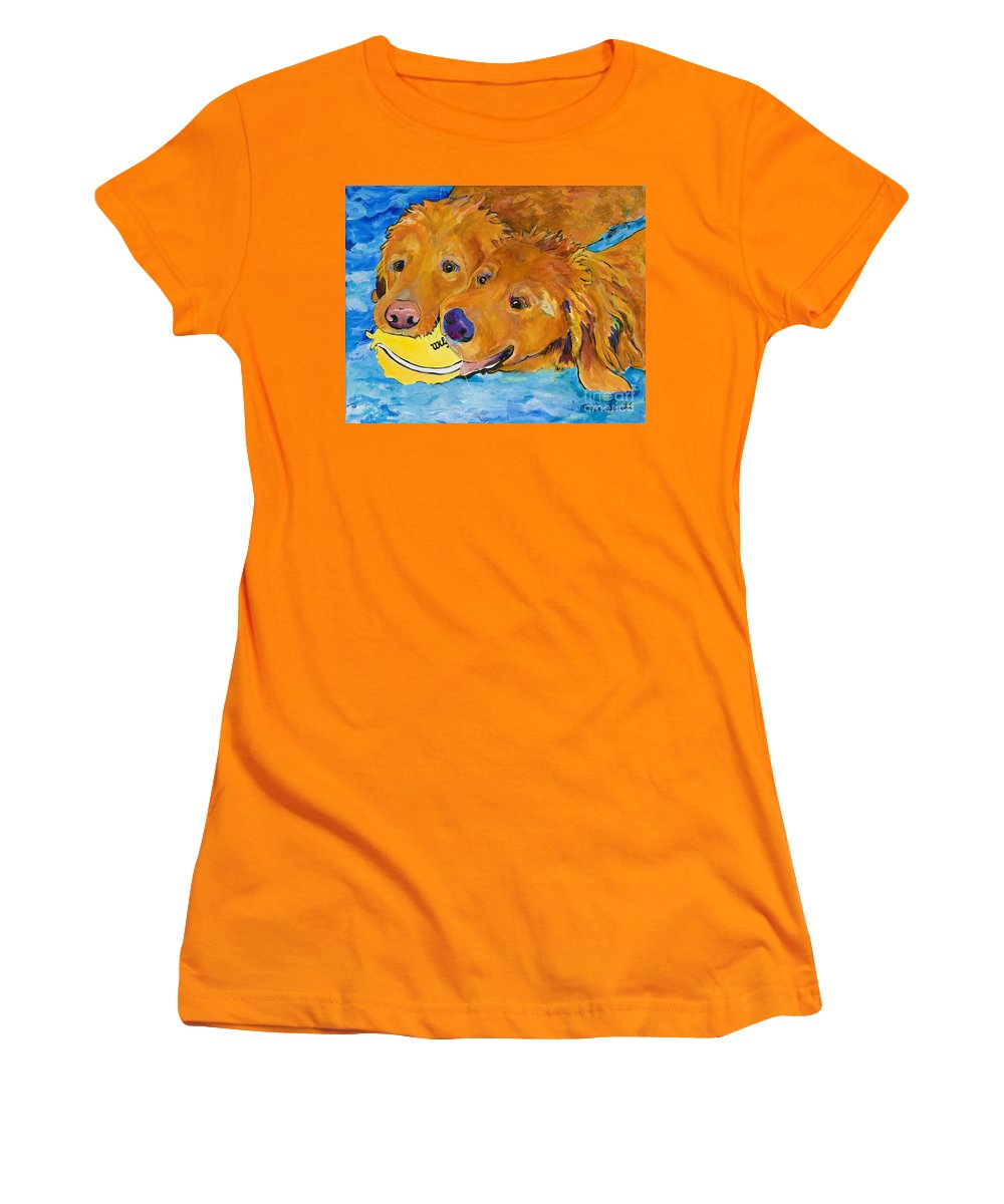 Golden Retriever Women's T-Shirt (Athletic Fit) featuring the painting Double Your Pleasure by Pat Saunders-White