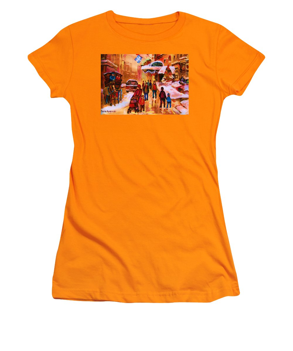 Downtown Montreal Women's T-Shirt (Athletic Fit) featuring the painting Downtown Montreal by Carole Spandau
