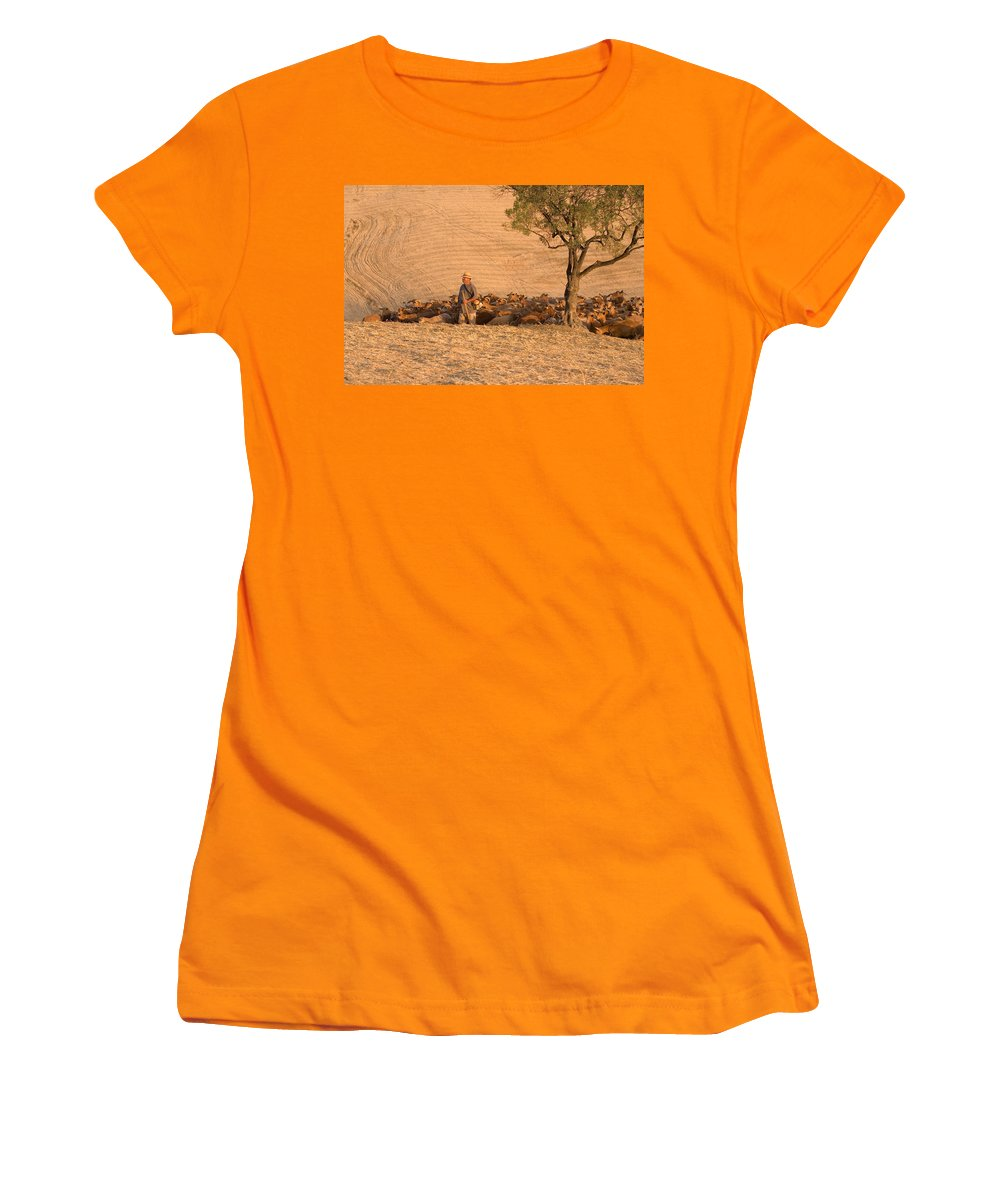 Goat Women's T-Shirt (Athletic Fit) featuring the photograph Goatherd by Mal Bray