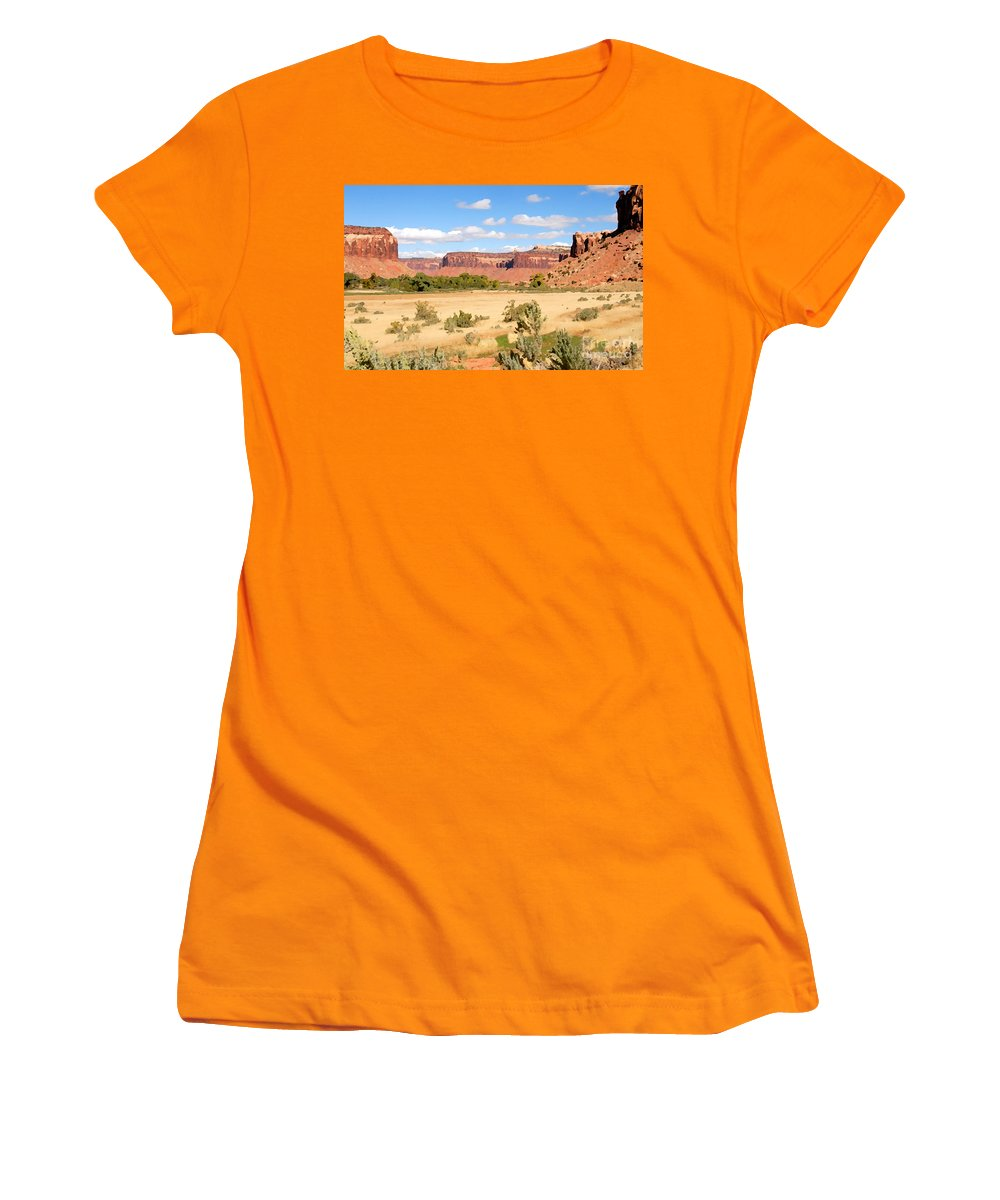 Canyon Lands Women's T-Shirt (Athletic Fit) featuring the photograph Land Of Canyons by David Lee Thompson