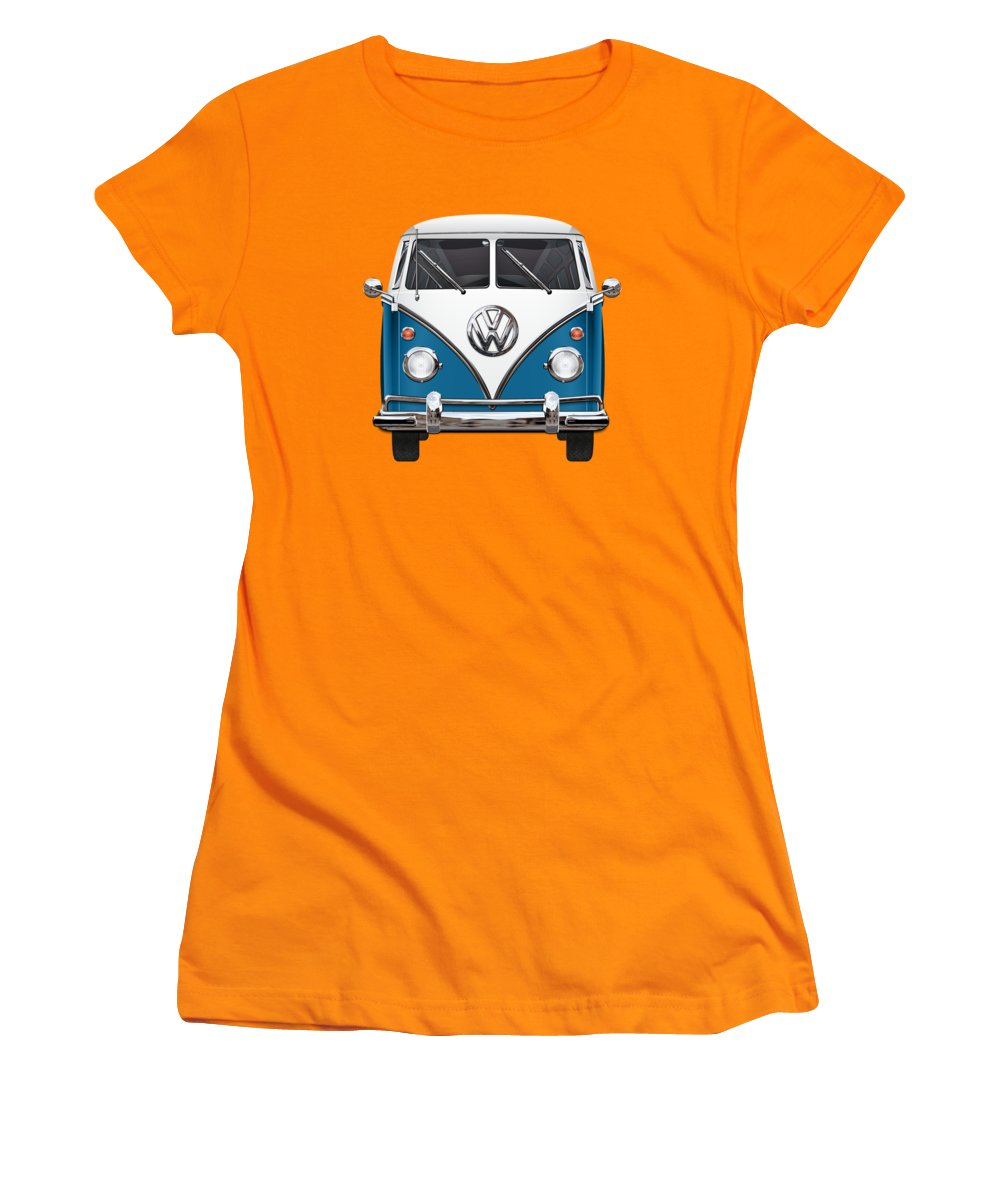 'volkswagen Type 2' Collection By Serge Averbukh Women's T-Shirt (Athletic Fit) featuring the photograph Volkswagen Type 2 - Blue And White Volkswagen T 1 Samba Bus Over Orange Canvas by Serge Averbukh