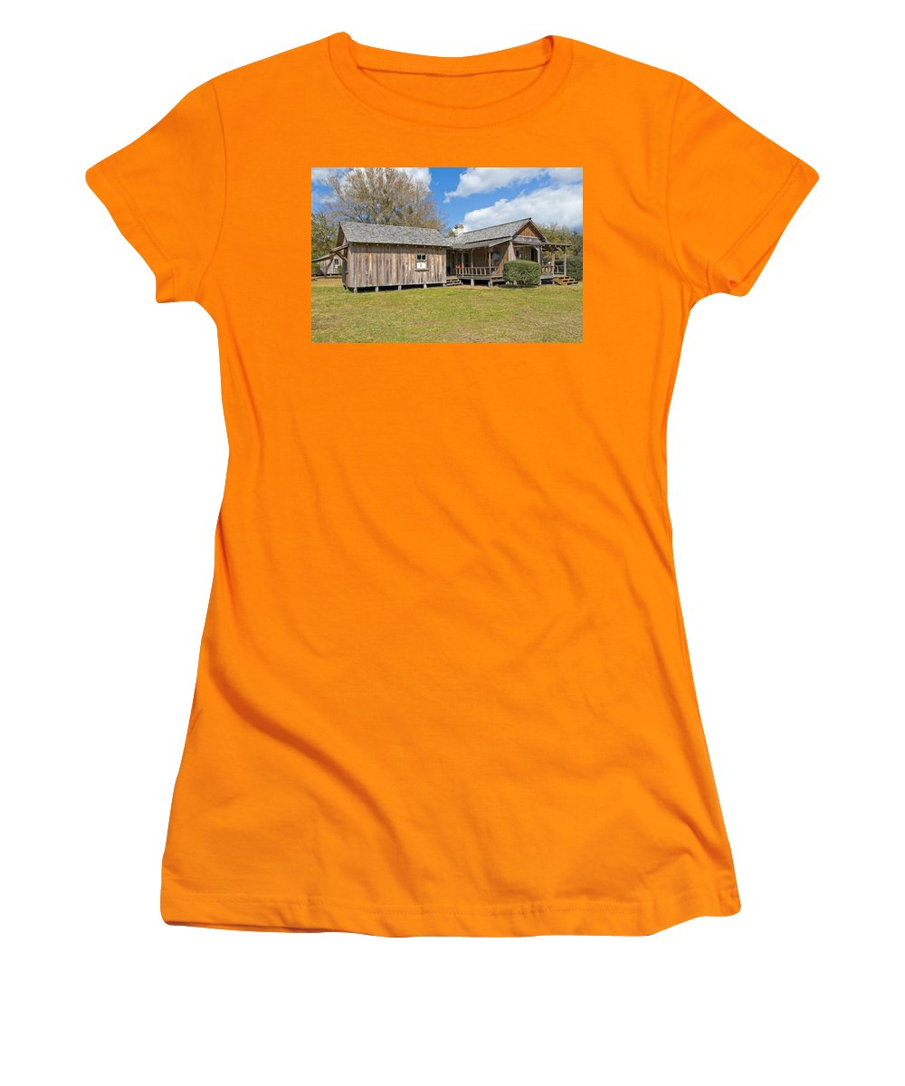 Cabin Women's T-Shirt (Athletic Fit) featuring the photograph 1912 Simmons Farm In Christmas Florida by Allan Hughes