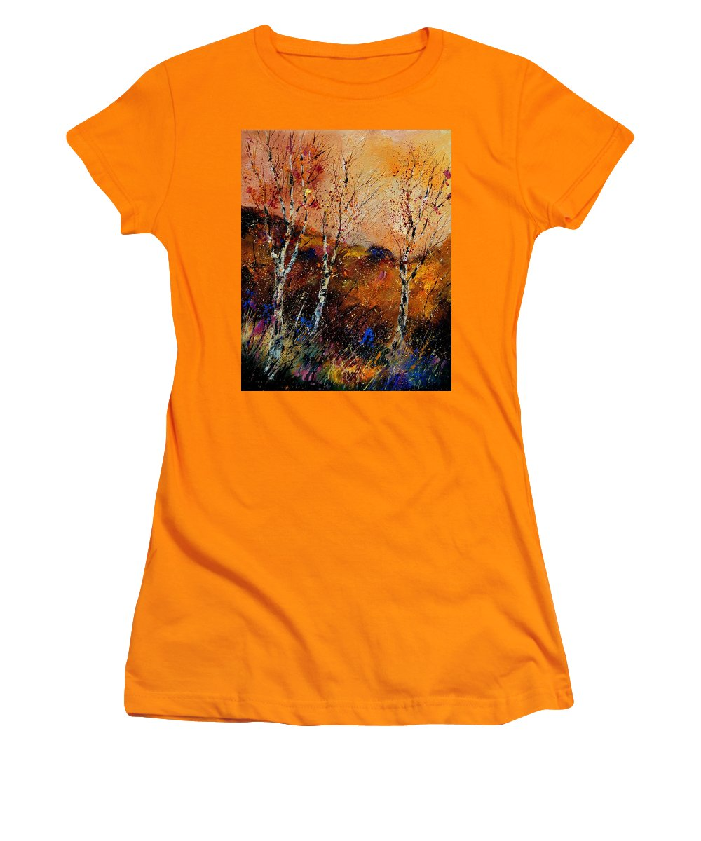 River Women's T-Shirt (Athletic Fit) featuring the painting 3 Poplars by Pol Ledent