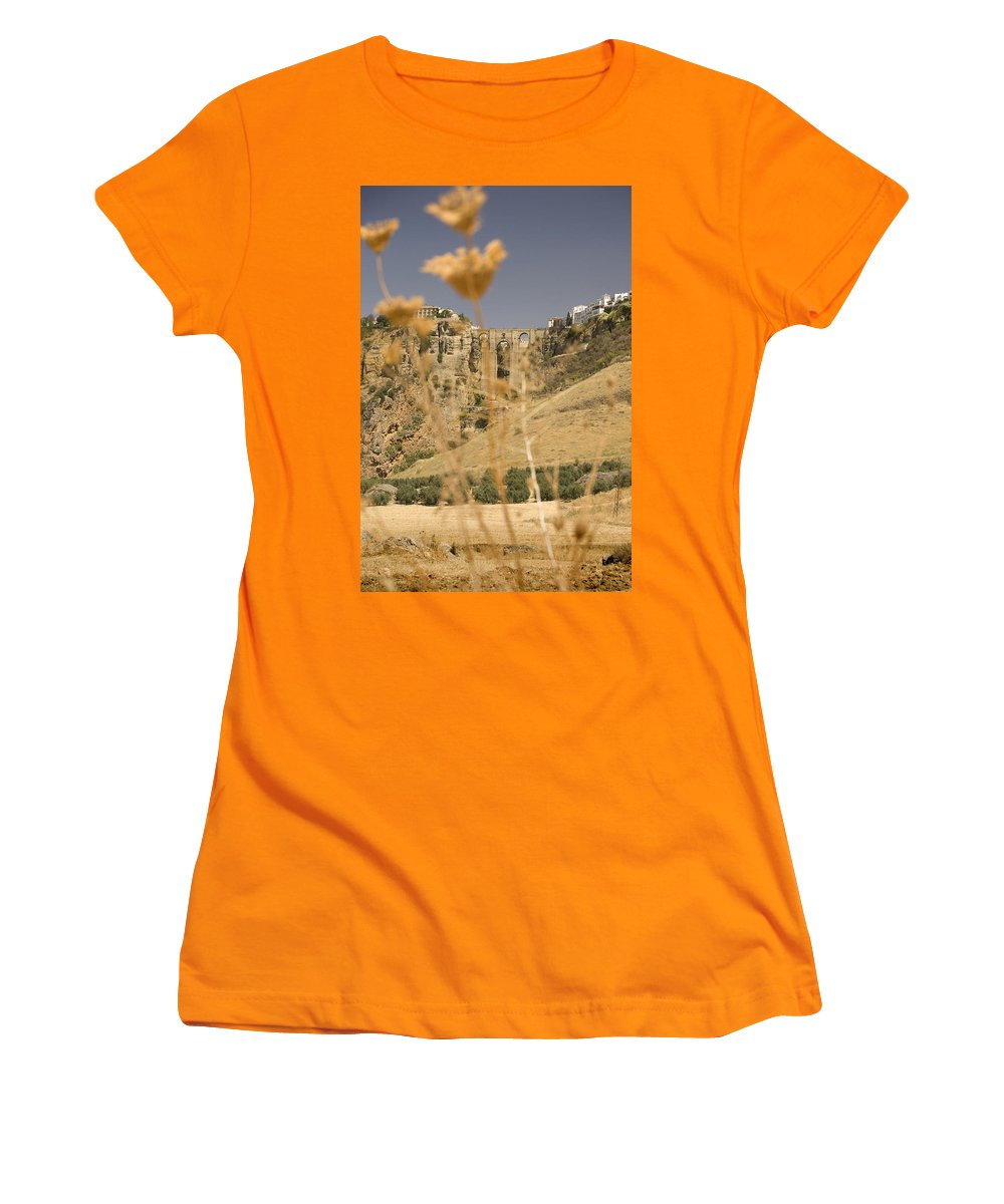 Tajo Women's T-Shirt (Athletic Fit) featuring the photograph A View Of The Tajo De Ronda And Puente Nuevo Bridge Serrania De Ronda Andalucia Spain by Mal Bray