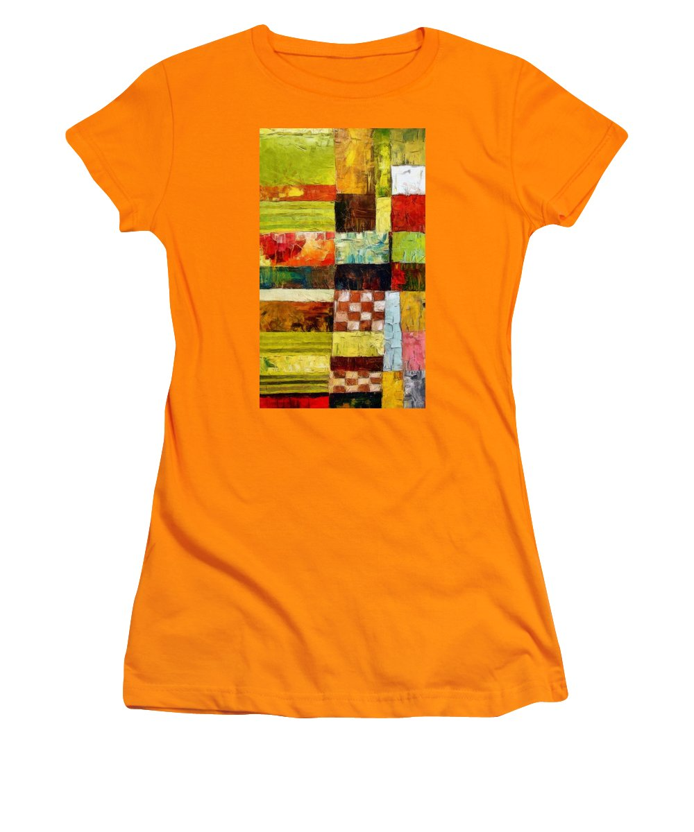 Patchwork Women's T-Shirt (Athletic Fit) featuring the painting Abstract Color Study With Checkerboard And Stripes by Michelle Calkins