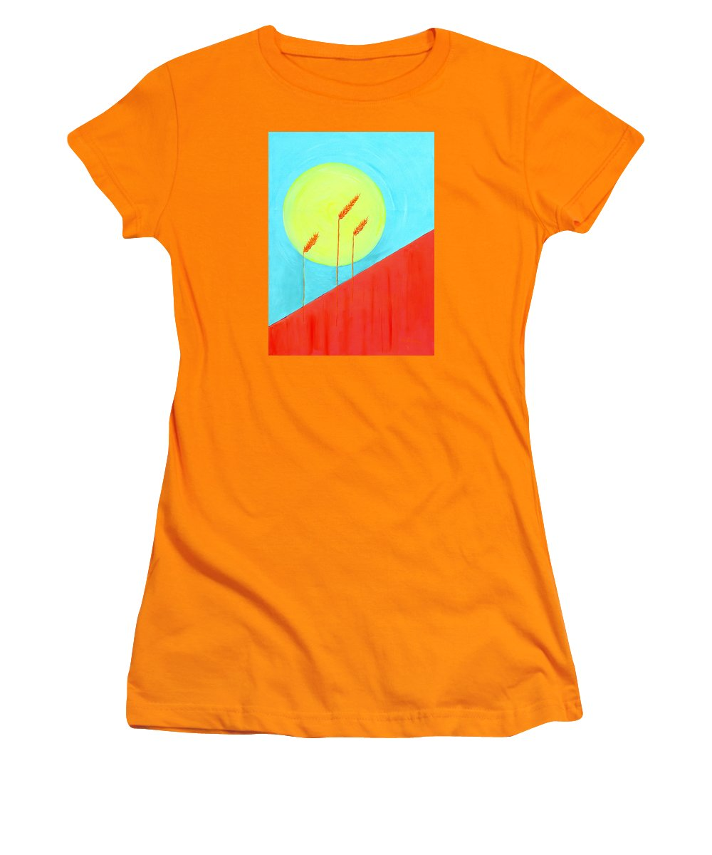 Landscape Women's T-Shirt (Athletic Fit) featuring the painting Autumn Harvest by J R Seymour